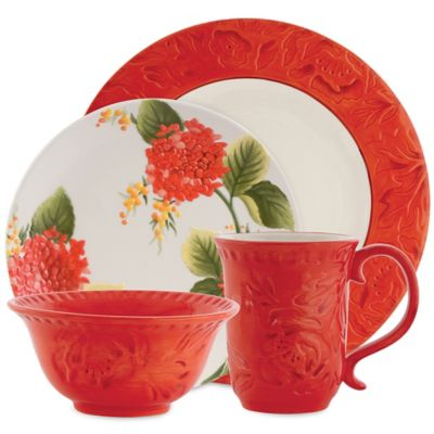 Fitz and Floyd® Flower Market 4-Piece Place Setting in Sunset Red