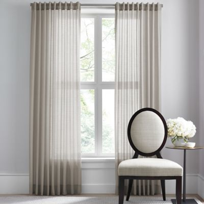 Barbara Barry Dotted Sheer Rod Pocket/Back Tab 84-Inch Window Curtain Panel in Mushroom