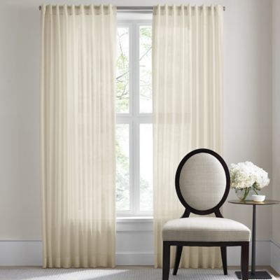 Barbara Barry Dotted Sheer Rod Pocket/Back Tab 120-Inch Window Curtain Panel in Sand