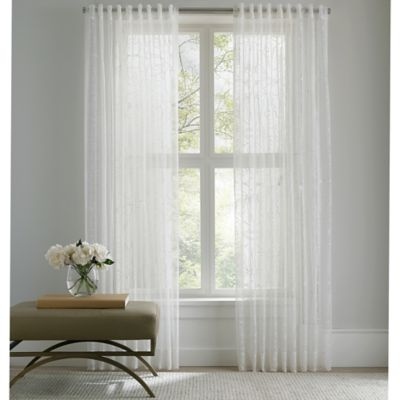 Barbara Barry Sheer Tracery Rod Pocket 120-Inch Window Curtain Panel in Off-White