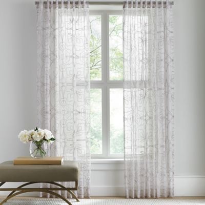 Barbara Barry Sheer Tracery Rod Pocket 63-Inch Window Curtain Panel in Quartz