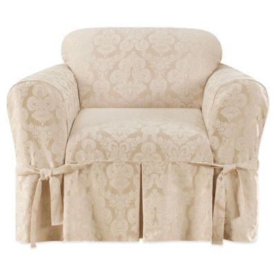 Sure Fit® Relaxed Fit Middleton 1-Piece Chair Slipcover in Mushroom