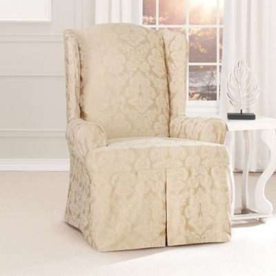 Sure Fit® Relaxed Fit Middleton 1-Piece Wing Chair Slipcover in Black