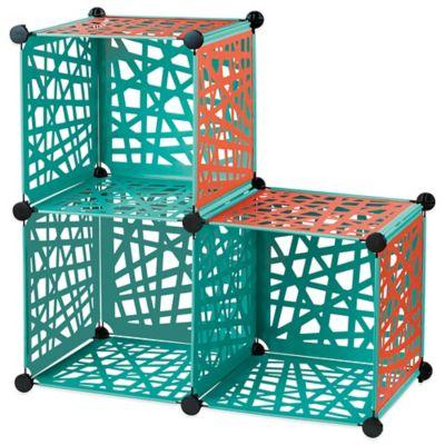 Reversible Cube Grid in Aqua/Red Orange