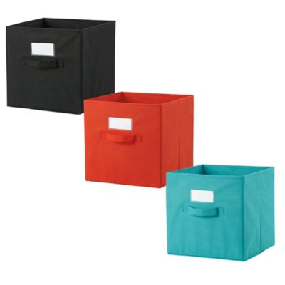Cube Grid Bins in Red/Orange (Set of 2)
