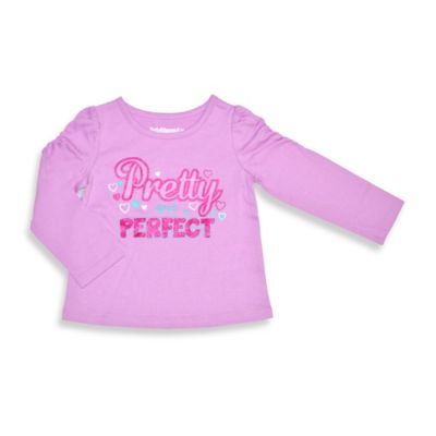 Kidtopia Size 2T Pretty and Perfect Long Sleeve Flared Bottom Tee Top in Violet