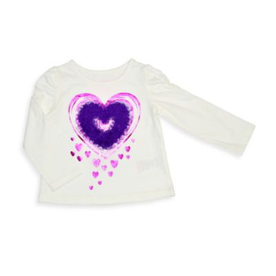Kidtopia Size 3M Heart Long-Sleeve Flared Bottom Top in Ivory/Purple