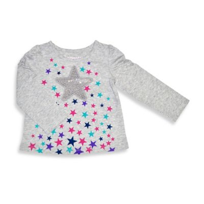 Kidtopia Size 3T Stars Long Sleeve Flared Bottom Tee Top in Grey Heather