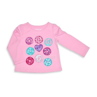 Kidtopia Size 3T Donuts Long Sleeve Flared Bottom Tee Top in Pink