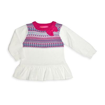 Kidtopia Size 4T Long-Sleeve Peplum Sweater in Purple/Ivory