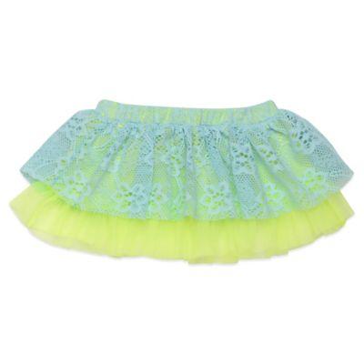 Baby Starters Newborn Lace Tutu Skirt in Aqua/Yellow