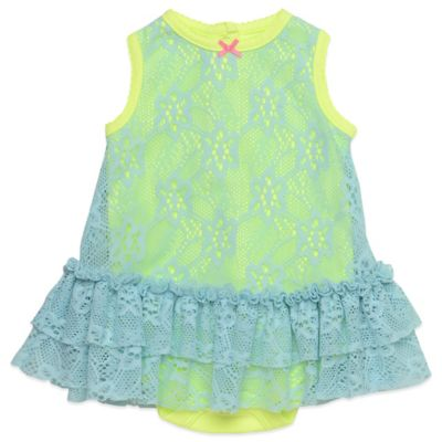 Baby Starters Size 12M Lace Two-Tone Dress in Aqua