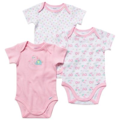 Gerber ONESIES® Newborn 3-Pack Girl's Short-Sleeve Organic Cotton Bodysuits