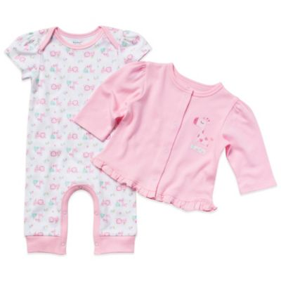 Gerber Newborn Girl's 2-Piece Organic Cotton Girl's Coverall and Cardigan Set