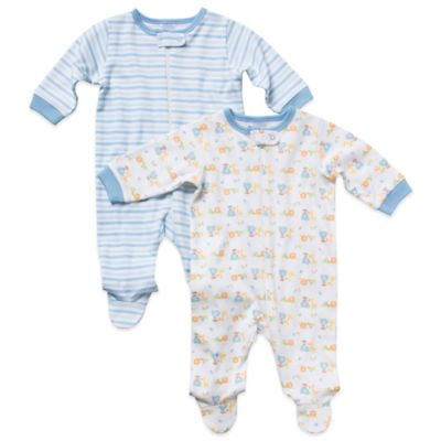 Gerber Newborn Organic Cotton Boy's Long-Sleeve 2-Pack Footies in Blue