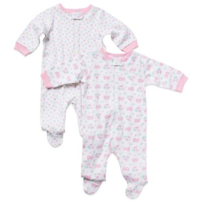 Gerber Newborn 2-Pack Girl's Long-Sleeve Organic Cotton Footies