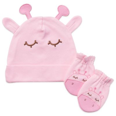 Gerber 2-Piece Organic Cotton Cap and Mitten Set in Pink