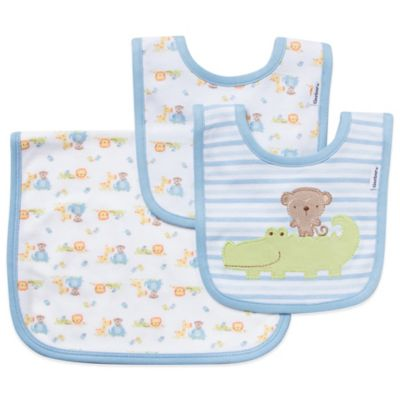 Gerber 3-Piece Organic Cotton Bib and Burp Set in Blue
