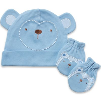 Gerber 2-Piece Organic Cotton Cap and Mitten Set in Blue