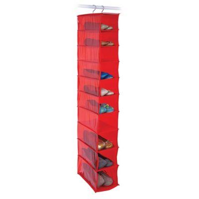 Closetware 10-Pocket Shoe Organizer in Red