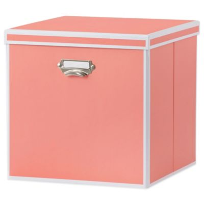 Real Simple® Foldable Storage Bin with Lid in Coral