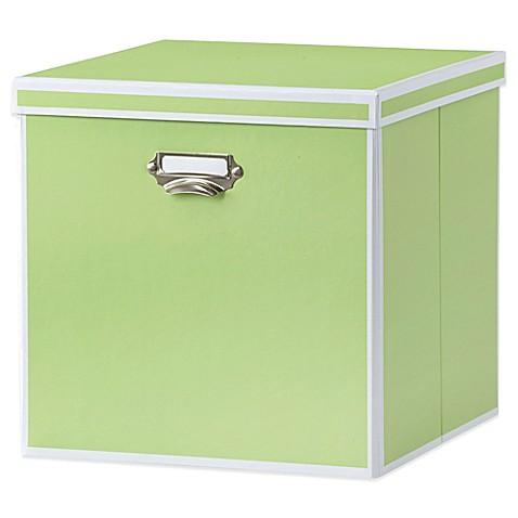 Buy real simple foldable storage box bin with lid green for Green bathroom bin