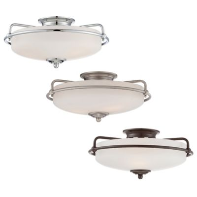 Quoizel Griffin Large Floating Flush-Mount Ceiling Light in Antique Nickel