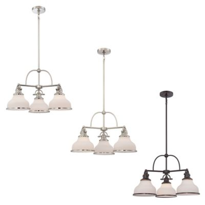 Quoizel Grant 3-Light Ceiling-Mount Dinette Chandelier in Brushed Nickel