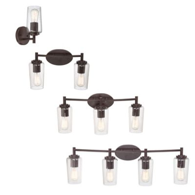 Quoizel Edison 3-Light Wall-Mount Bath Fixture with Clear Seeded Glass Shade