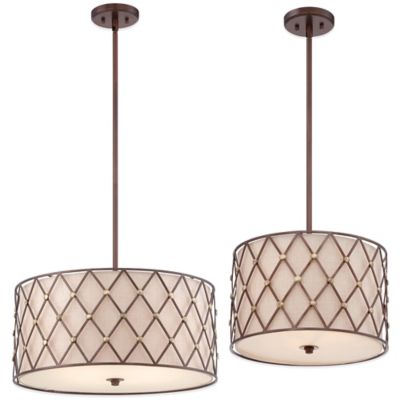 Quoizel Brown Lattice 3-Light Pendant Ceiling Mount Light Fixture in Canyon Copper