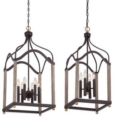 Quoizel Bordergate 6-Light Ceiling-Mount Cage Chandelier in Western Bronze