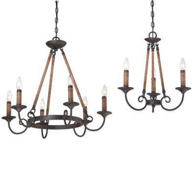 Quoizel Bandelier 6-Light Ceiling-Mount Chandelier in Imperial Bronze
