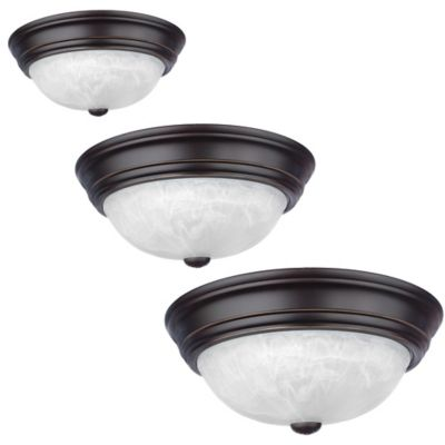 Quoizel Alabaster Melon Medium 2-Light Flush-Mount Fixture in Palladian Bronze