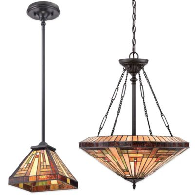 Quoizel Stephen 4-Light Tiffany-Style Pendant Light in Vintage Bronze