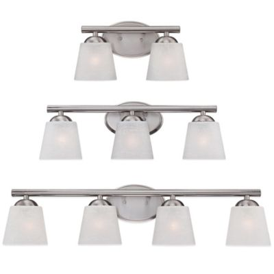 Quoizel Stowe 2-Light Wall-Mount Bath Fixture in Brushed Nickel with Glass Shade