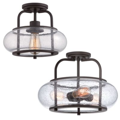 Quoizel Trilogy 3-Light Large Semi-Flush Mount Light in Bronze with Seedy Glass Shade