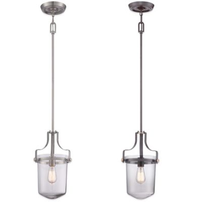 Quoizel Uptown Penn Station 1-Light Ceiling-Mount Mini Pendant Light in Bronze
