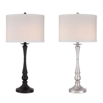 Quoizel Vivid Collection Ambrose Table Lamp in Palladian Bronze with Hardback Shade