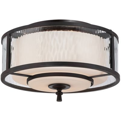Quoizel Adonis 2-Light Medium Flush-Mount in Dark Cherry with Opal Etched-Glass Shade