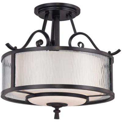Quoizel Adonis 3-Light Medium Semi-Flush Mount Fixture in Dark Cherry with Opal Etched-Glass Shade