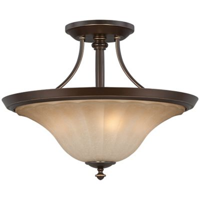 Quoizel Aliza 3-Light Extra Large Semi-Flush Mount Fixture in Palladian Bronze with Glass Shade