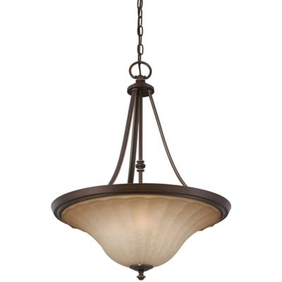Quoizel Aliza 4-Light Ceiling-Mount Pendant Light in Palladian Bronze with Glass Shade