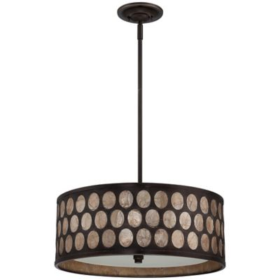 Quoizel Ariella 4-Light Ceiling-Mount Pendant in Palladian Bronze With Capiz Shade