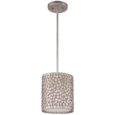 Quoizel Confetti Rod Hung Mini Pendant in Old Silver with Off-white Linen Shade