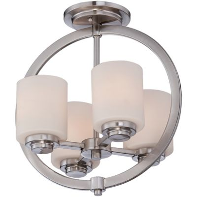 Quoizel Celestial Medium Semi-Flush Mount in Brushed Nickel with Opal Etched-Glass Shade