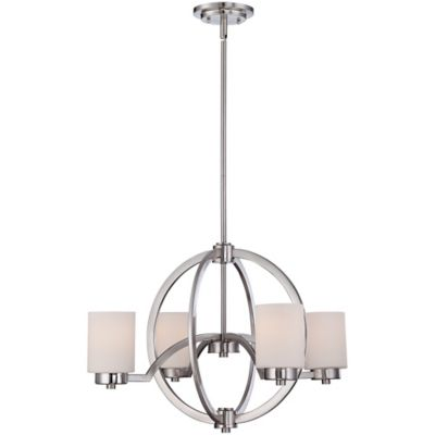 Quoizel Celestial 4-Light Chandelier in Brushed Nickel with Opal-Etched Glass Shade