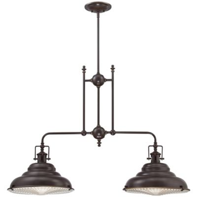Eastvale 2-Light Ceiling-Mount Island Chandelier in Palladian Bronze