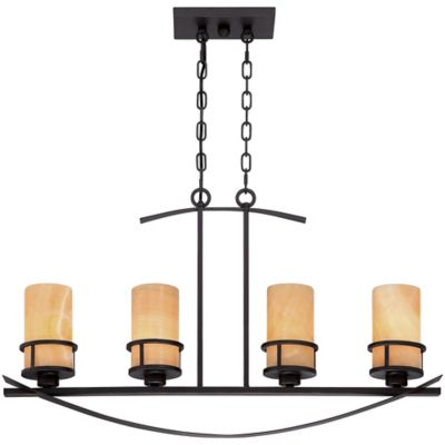 Kyle 4-Light Ceiling-Mount Island Chandelier in Imperial Bronze