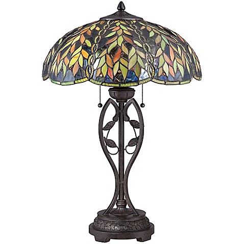 quoizel belle table lamp in bronze with glass shade bed. Black Bedroom Furniture Sets. Home Design Ideas