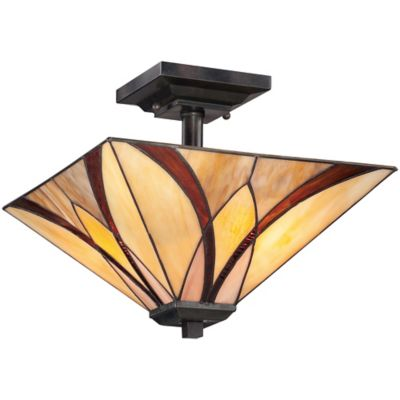 Quoizel Asheville 2-Light Semi-Flush Mount Ceiling Fixture in Valiant Bronze